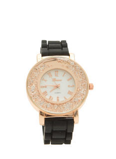 Ring Of Rhinestones Silicone Watch
