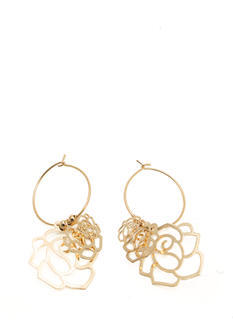 Open Flower Hoop Earrings