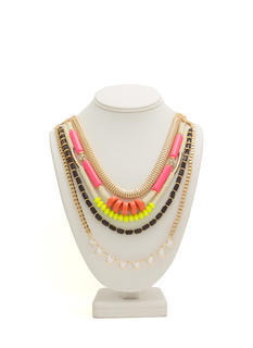 Layered Beads 'N Chains Necklace
