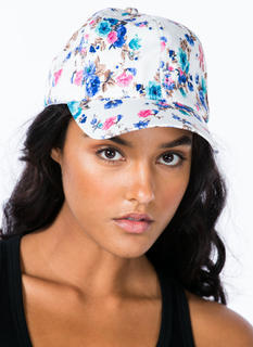 Velvety Painted Floral Spray Print Cap