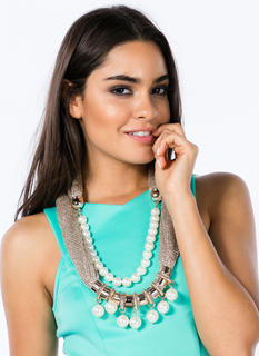 Faux Pearls Mesh Tube Scarf Necklace