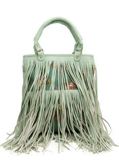 Faux Leather Floral Fringe Handbag