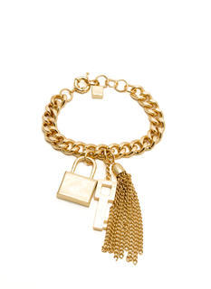 Lock And Key Tassel Charm Bracelet