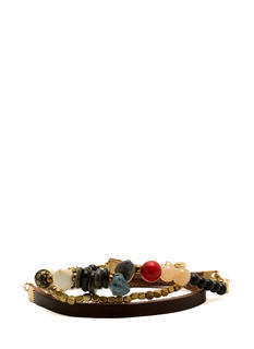 Beaded Faux Stone Wraparound Bracelet