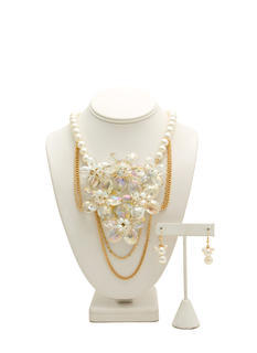 Crystallized Faux Pearl Necklace Set