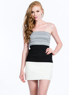 Textured Colorblock Bandage Dress