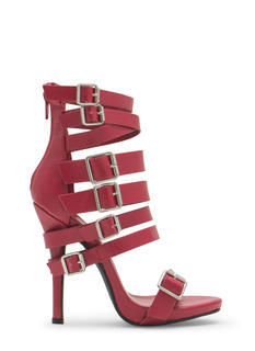 That's A Strap Buckled Faux Leather Heels