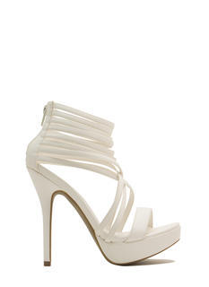 Strap Attack Faux Leather Heels