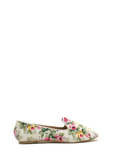 Fascinating In Floral Smoking Flats