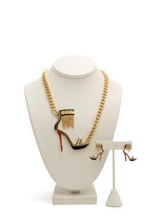 Chained Ankle Strap Heel Necklace Set