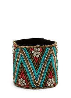 Beaded Jeweled Tribal Cuff Bracelet
