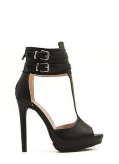 Good Luck Double Buckle T-Strap Heels