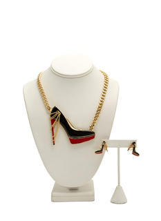 Chained Enameled Heel Necklace Set