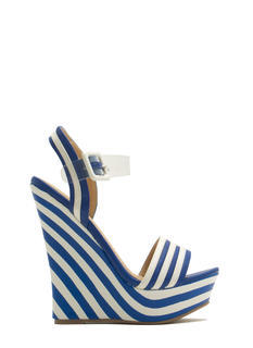 Clear The Way Strappy Striped Wedges