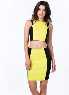 2 Become 1 Colorblock Cut-Out Dress