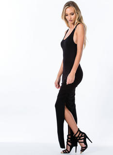 Ruched Double Slit Dress