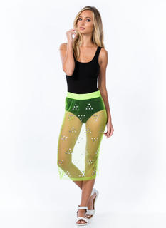 Bejeweled Mesh Pencil Skirt