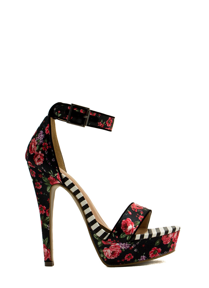 Rose Cluster Striped Print Platform Heels