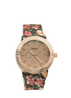 Floral Print Coated Watch