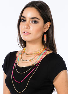 Metal Layered Chains Necklace Set