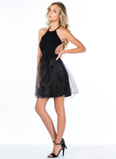 X Marks The Back Organza Skater Dress