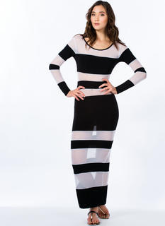 Strips Search Mesh Inset Striped Maxi