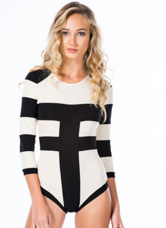 Contrast Paneled 'N Striped Bodysuit