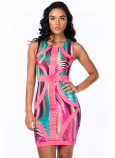 Piping Haute Abstract Bodycon Dress