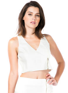 Zip-pin' Out Sateen Cropped Tank