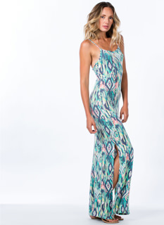 Brushed Tribal Print Maxi Dress