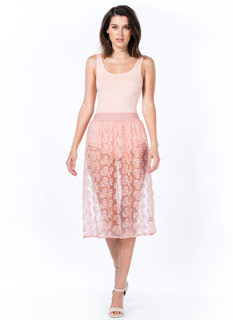 Sheer Floral Stitched Skirt