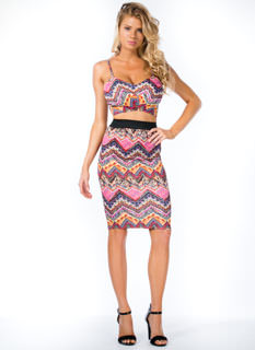Zeal For Zigzag Tribal Midi Skirt