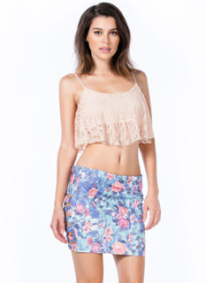 Rose Ladder Cut-Out Mini Skirt