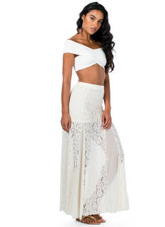 Floral Lace 'N Mesh Maxi Skirt