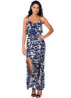Tie-Dye For Tiered Double Slit Maxi