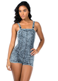 Frolic Room Acid Wash Strappy Romper