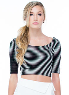 Stripe That Three-Quarter Cropped Top