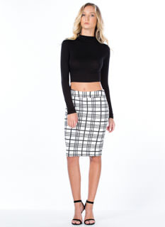 Grid The Line Textured Skirt