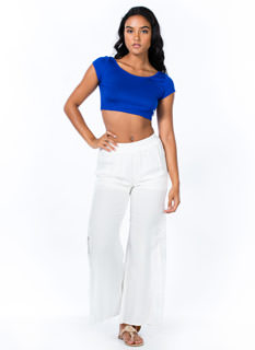 Floral Lace Inset Flared Pants