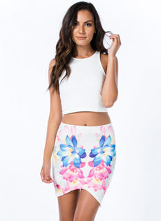 Watercolored Floral Asymmetrical Skirt