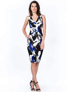Magnified Brushstroke Cut-Out Dress