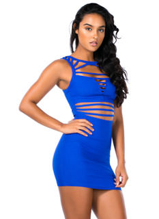 Ladder Up Strappy Caged Cut-Out Dress
