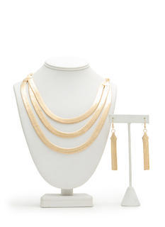 Triple Herringbone Strand Necklace Set