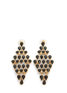 Teardrop Faux Gem Chandelier Earrings