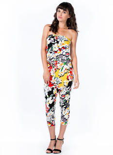 Flowerful Strapless Cropped Jumpsuit