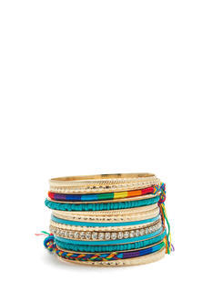 Rainbow Wrapped Jeweled Bangle Set