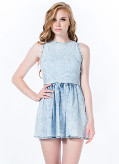 Gathered Acid Wash Denim Dress