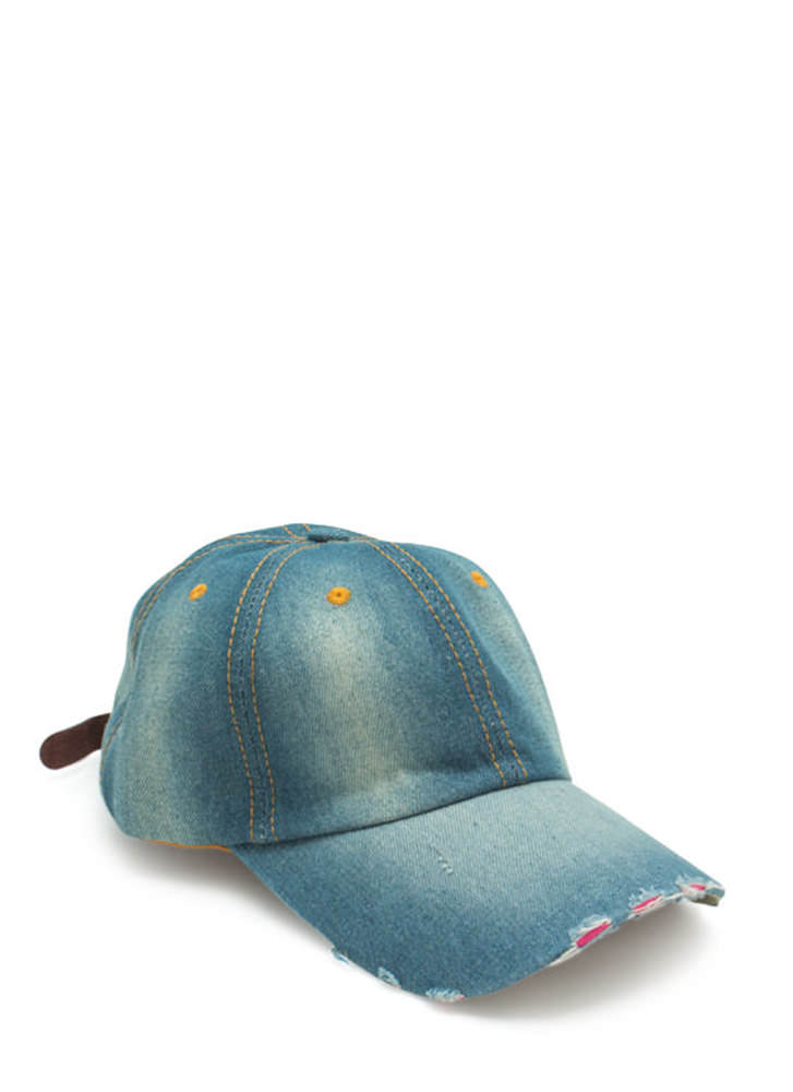 Stitched Panels Distressed Denim Cap