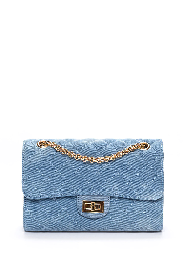 Quilted Denim Chain Strap Bag