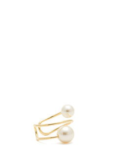 Faux Pearl Duo Spiral Ring
